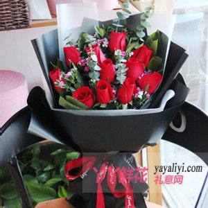 鮮花11朵紅玫瑰黑色卡紙...