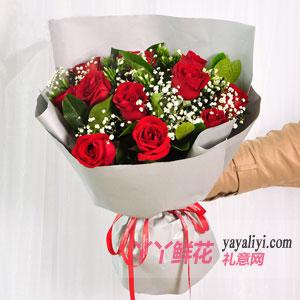 愛的傳奇-鮮花11支紅玫瑰綠葉滿天星