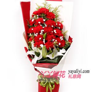 19朵红色康乃馨4朵百合...
