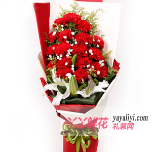真誠相伴-19朵紅色康乃馨4朵百合鮮花速遞