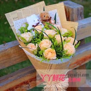 鲜花11支香槟玫瑰2只小熊