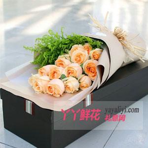 鲜花速递19枝香槟玫瑰高档礼盒