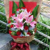鮮花速遞19支紅玫瑰2支百合