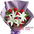 11朵红玫瑰2枝多头百合同城鲜花配送