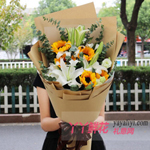 鲜花5朵向日葵11朵白百合