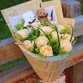 特价鲜花11支香槟玫瑰2只小熊