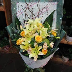 暗香-8支黄天霸百合6支黄玫瑰道歉送花