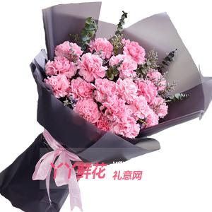 19朵粉色康乃馨配情人草尤加利叶