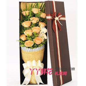 鲜花11支香槟玫瑰小熊礼盒