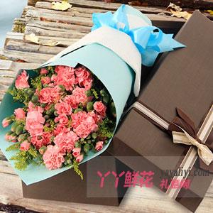 远方的思念-33朵粉色康乃馨咖色礼盒