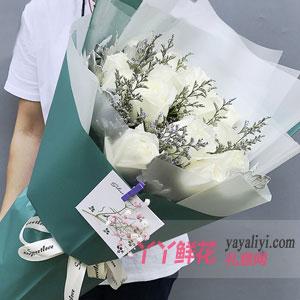 鮮花速遞19支白玫瑰