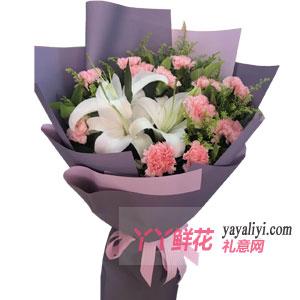 鲜花11支粉色康乃馨2百...
