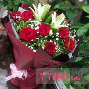 鮮花11支紅玫瑰3支百合