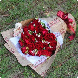 鮮花速遞27支紅玫瑰1只...