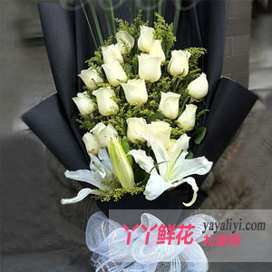鮮花速遞19支白玫瑰3枝...