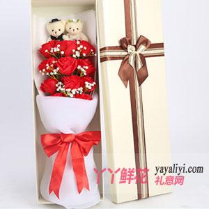 11朵红玫瑰2小熊奶白色...