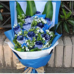 鮮花11支藍玫瑰藍色妖姬