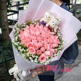 鲜花33支粉色戴安娜玫瑰