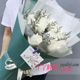 鲜花速递19支白玫瑰