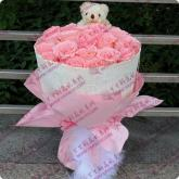 鲜花速递24支戴安娜粉玫瑰1只小熊