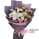 鲜花11支粉色康乃馨2百合