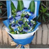 鲜花11支蓝玫瑰蓝色妖姬