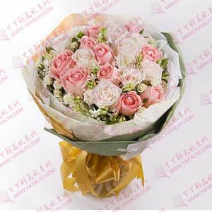 鮮花速遞22支粉玫瑰白玫...