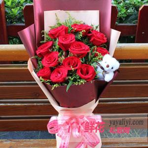 11朵紅玫瑰黃鶯1小熊