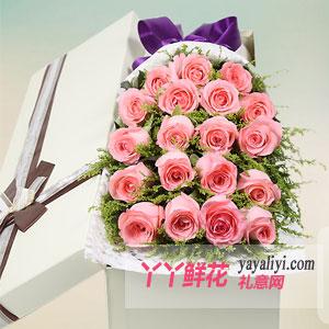粉色佳人-鲜花19支粉玫瑰方形礼盒