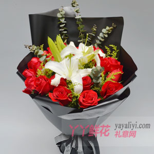 鲜花19支红玫瑰6朵百合...