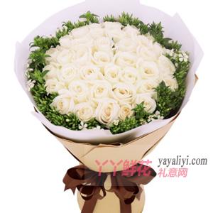 33朵白玫瑰外圍白色相思梅