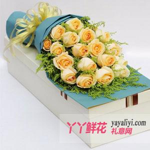 19枝香檳玫瑰奶白色禮盒