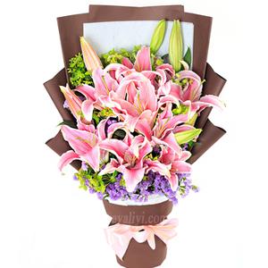 迷人的微笑-鲜花5枝双头百合配紫罗兰