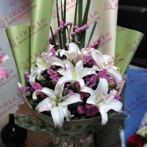 鮮花速遞6枝白色百合