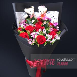 11朵紅玫瑰搭配相思梅2個公仔