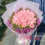 鲜花33朵戴安娜粉玫瑰粉色满天星