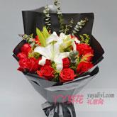 鲜花19支红玫瑰6朵百合速递