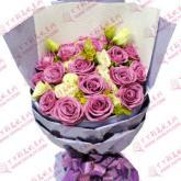 鲜花速递18支紫玫瑰
