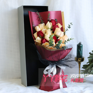 16支各色玫瑰時尚花盒