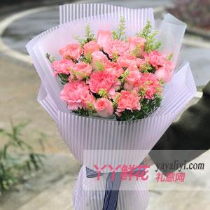 溫馨祝福-12朵粉康7朵粉玫瑰