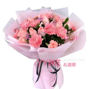 11朵粉色康乃馨11朵粉佳人玫瑰配相思梅满天星
