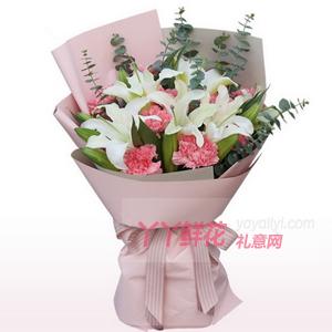 11朵粉色康乃馨4枝多头...