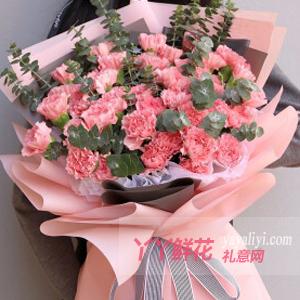 感恩-33朵粉色康乃馨花束15支尤加利葉