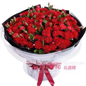 99朵红色康乃馨配多头康乃馨栀子叶