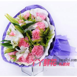 鲜花-母亲节订购19枝粉色康乃馨2枝多头百合