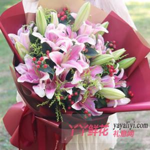 19朵粉色百合搭配红豆