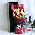 6朵红玫瑰15朵香槟尤加利间插礼盒