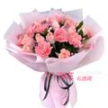 11朵粉色康乃馨11朵粉佳人玫瑰配相思梅滿天星