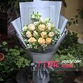 11朵香槟玫瑰绿色洋桔梗黄莺