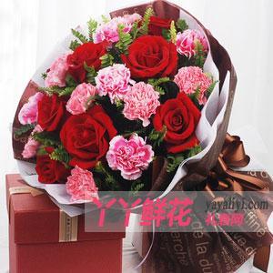 10朵粉色康乃馨6朵紅玫瑰